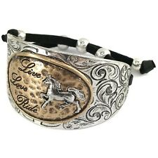 Western Silver Burnish Gold Live Love Ride Hammered Plate Leather Cuff Bracelet