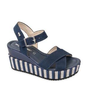 VALLEVERDE 32435 Sandalias Zapatos Cuña Mujer Cuerda Azul