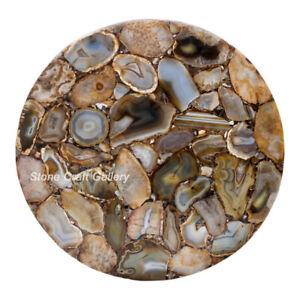 """18"""" Agate Corner table Top Marble semi precious stones Art home decor"""