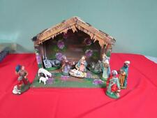 VINTAGE ITALY CHRISTMAS PAPER MACHE NATIVITY SCENE SET WITH STABLE CRECHE