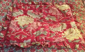 Pottery Barn Pillow Sham Standard Vintage Floral Red Green Tan New Old Stock