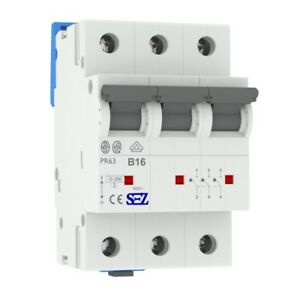 Miniature circuit breaker B16A 3-Pin 10kA VDE Backup Maker MCB SEZ