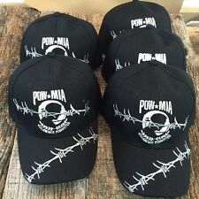 WHOLESALE LOT 5X BLACK POW MIA Baseball Caps Adjustable MILITARY NEW HT-507-5