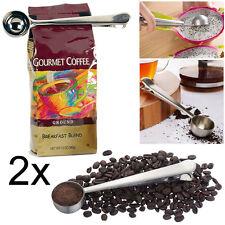 2x Acciaio Inox Tazza Caffè macinato misura Spoon Scoop CON SACCA CHIUSURA CLIP