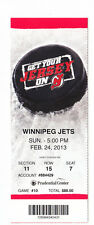 2013 NEW JERSEY DEVILS VS WINNIPEG JETS FULL TICKET STUB 2/24/13 JETS WIN 4-2