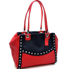 New 2018 Women Handbag Pyramid Studded Faux Leather Shoulder Bag Purse Red/Black