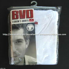 BVD 3-PACK MEN'S CREW-NECK WHITE T-SHIRTS SMALL MADE IN USA BNEW