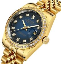 Gosasa Blue Dial Diamonds Men's Gold Stainless Steel Band Automatic Mechanical