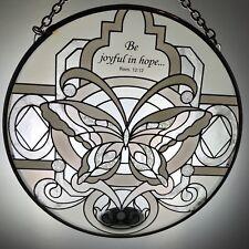 Joan Baker Hand painted Suncatcher-MC302-Butterfly in Whites... Art Glass New