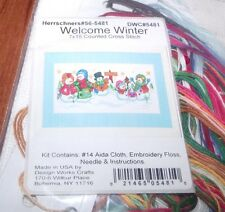 """Adorable Design Works WELCOME WINTER Snow Family Kit  HTF 7"""" x 18"""""""