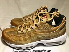 Men's Nike Air Max 95 Premium QS Baskets Baskets Chaussures Or/Blanc Taille UK 7