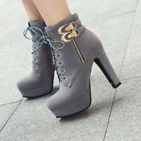 Women Block Heels Platform Buckle Strap Zip Lace Up Combat Ankle Boots Shoes New