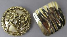Vtg Scarf Clip Lot of 2, Round Gold Floral, One Gold Wavy Square - or Shoe Clip