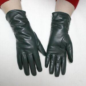 Women Velvet Lining Sheepskin Leather Warm Gloves Autumn Winter Fashion Mittens