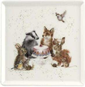 Royal Worcester Wrendale 18cm square serving plate, animal party, badger, fox