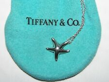 "Signed Tiffany & Co. Elsa Peretti Sterling Silver Starfish Pendant 16"" Chain Bag"
