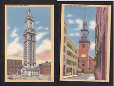 Vintage Postcard Lot MA - BOSTON Old North Church & Custom House