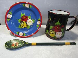 3 Vintage Pieces of Handpainted Bargeware With Signs of Use and Ware.