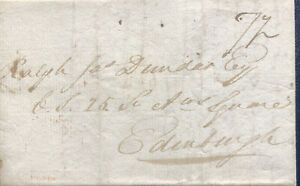 GB 1822 PRE-STAMP SCOTTISH WRAPPER FROM DUNDEE TO EDINBURGH DATED 08TH OCT 1822.
