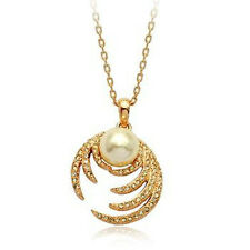 GORGEOUS 18K ROSE GOLD PLATED  AND GENUINE AUSTRIAN CRYSTAL AND PEARL NECKLACE