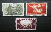 "SVIZZERA SWITZERLAND 1919 ""PEACE CELEBRATIONS"" TIMBRATI USED SET (CAT.A)"