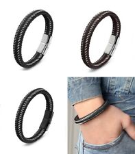 Real Leather Bracelet Braided Stainless Steel Beads Solid Black Silver Men's