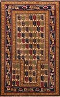 Geometric Bokhara Oriental Beige Area Rug Hand-Knotted Foyer Wool Carpet 3x4 ft