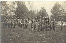 WWI American Real Photo PC- Soldiers- Officer- Stand at Attention- Rifle- Sword