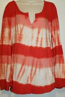 Lucky Brand Top Orange White Coral Tie Dye Long Sleeve Henley VGUC XL