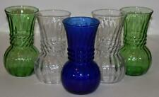 "Vintage Lot of 5 Anchor Hocking Vases Green Clear Cobalt Blue 6-1/4"" tall"