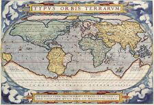 1570 World Map Antique Vintage Reproduction Parchment Poster Print 13x19