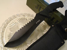 "Jungle Master Black Out Combat Bowie Machete Knife 5mm Full Tang JM-032BK 15"" OA"