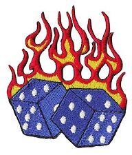 Patch écusson patche fire dices thermocollant dés en feu brodé badge