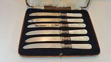 """6 VINTAGE CASED MOTHER OF PEARL HANDLED FRUIT DESSERT KNIVES 6.5"""""""