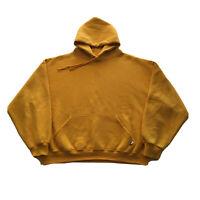 Vintage 80s Russell Hoodie Mens XL Yellow Pullover Streetwear Hip Hop 90s Blank