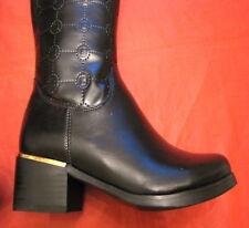 Stivali Laura Biagiotti n 37 pelle nero black kid style 369 tacco 4 cm alti 45,5