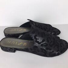Unisa Mules Open Toe Womens Black Leopard Print Flats Size 8