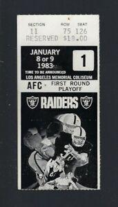 1983 NFL AFC DIVISIONAL PLAYOFF BROWNS @ LA RAIDERS FOOTBALL TICKET STUB