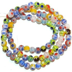 """G4243 Assorted Color Single Flower Millefiori 5mm Round Glass Beads 14"""""""