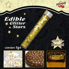 Gold Glitter Shimmering Stars Natural Cake Decorations Edible Toppers GMO Free