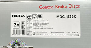 BRAKE DISCS X2 260 mm COATED REAR FITS HONDA CIVIC MK8 MINTEX MDC1833C PAIR