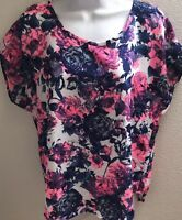 Top Blouse medium m floral print casual bright pink blue short sleeves