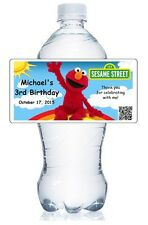 20 ELMO SESAME STREET BIRTHDAY PARTY WATER BOTTLE WATERPROOF LABELS GLOSSY