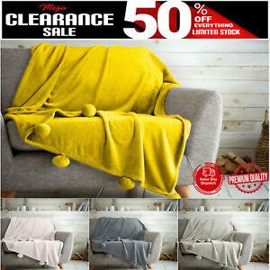 POM POM FLEECE BED THROW Super Soft Warm Blankets Cosy Sofa Travel Blanket