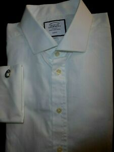 Superb Charles Tyrwhitt Non Iron Slim Fit Cuff Links Shirt 17.5/36 Retail £64.99