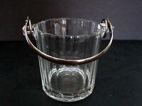 Collectible Depression Era Barware Paneled Ice Bucket with Silverplate Handle