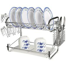 Rack Dish Drying Drainer Kitchen Holder Stainless Steel Sink Organizer Tray Cup