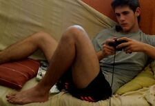 Male Frat Boy Bare Feet Wearing Shorts Playing Video Games PHOTO 4X6 Print C88