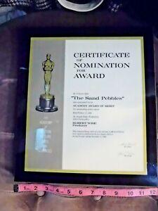 "Academy Award Cert of Nomination Robert Wise ""The Sand Pebbles"" Steve McQueen BR"