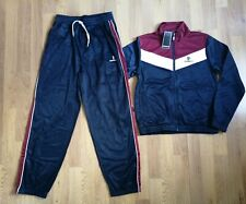DONNAY POLY TRACK SUIT AGE 11-12 - NAVY & MAROON-DRAWSTRING-BNWT
